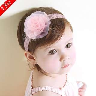 **小饅頭本舖**-韓國寶寶嬰兒花朵髮帶/粉色蕾絲花朵(含運)