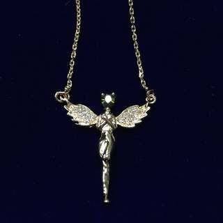 Crystal Guardian Angel Gold Plated Necklace