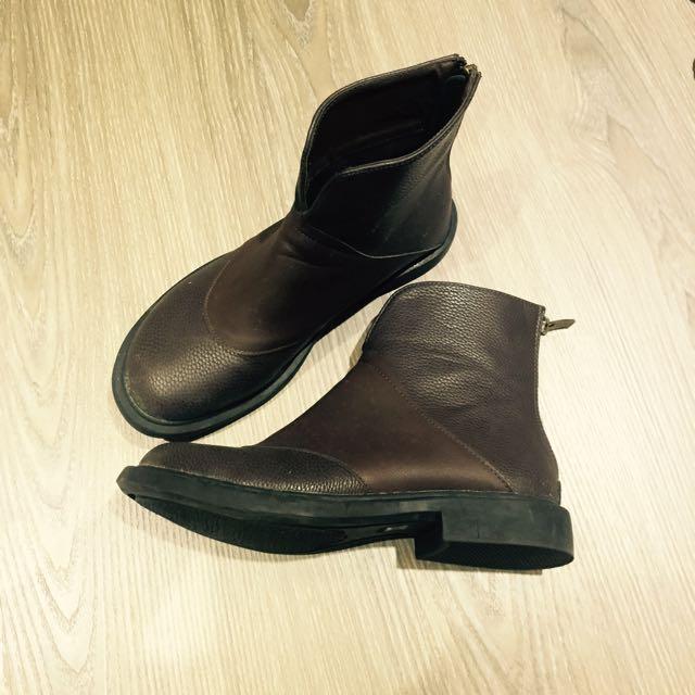 含運🎀全新真牛皮專櫃棕色靴子37碼