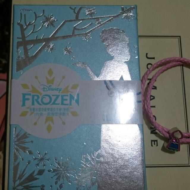 7-11限量冰雪奇緣雙環皮手鍊粉+藍+兩款串飾