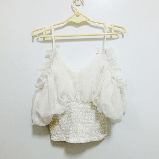 韓版🌺浪漫荷葉露肩雪紡上衣