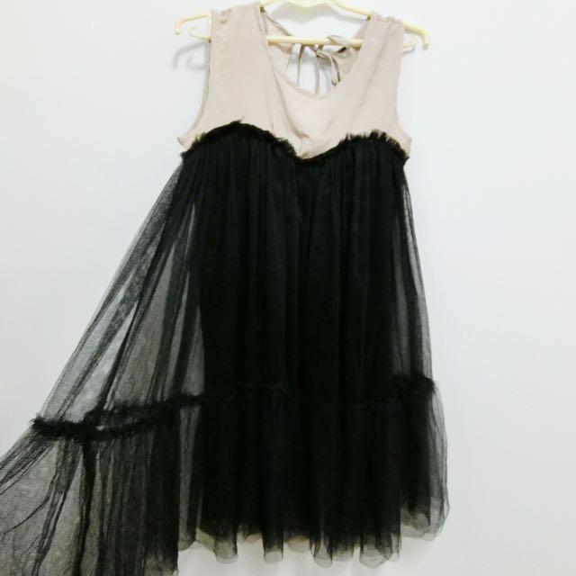 全新✨浪漫綁帶露背網紗洋裝