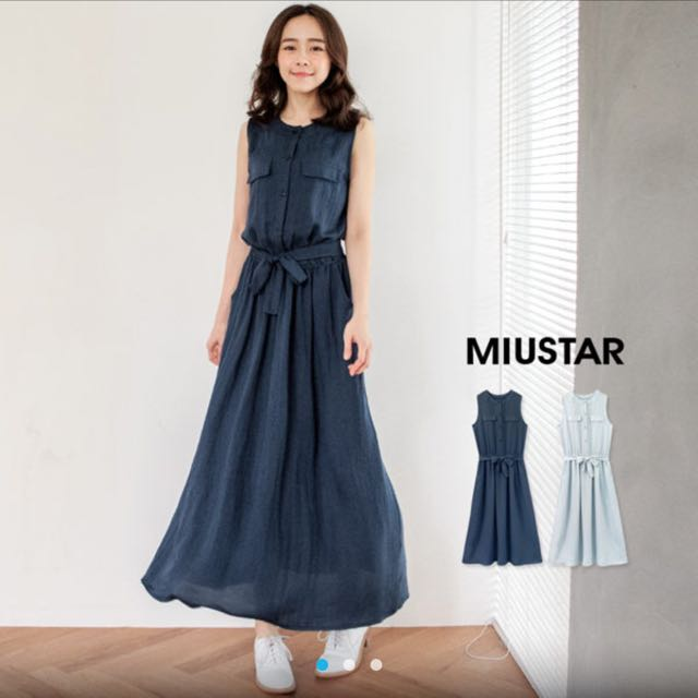 綁帶無袖洋裝(深藍)