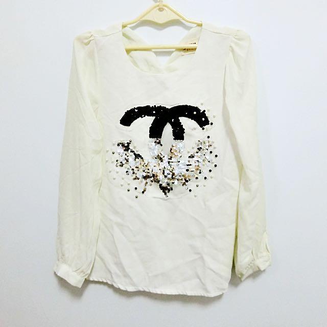 小香風✨亮片❤️雪紡袖 上衣