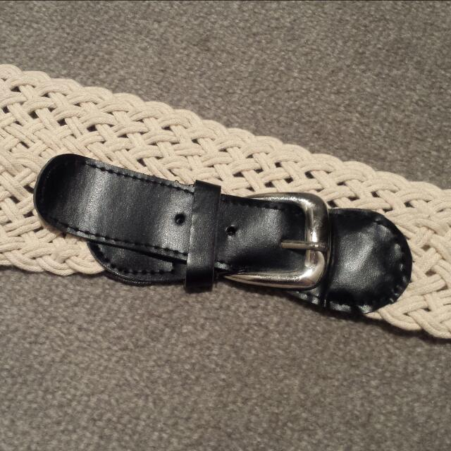 Blacl Buckle And Ivory Plaited Belt [NEW]