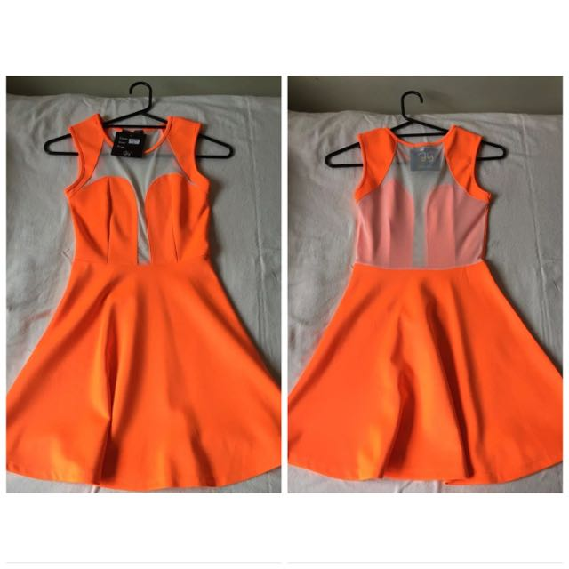 BNWT Aly Fashion Size 6 Orange Mesh Dress