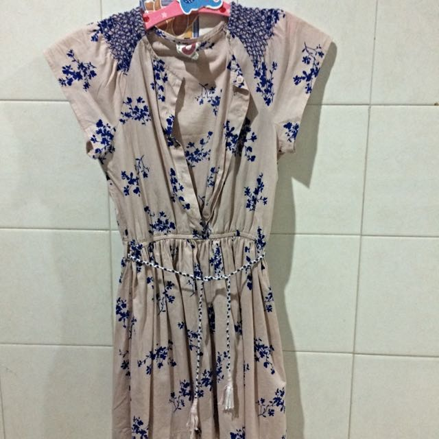 Cotton On Button Down Dress With Ribbon