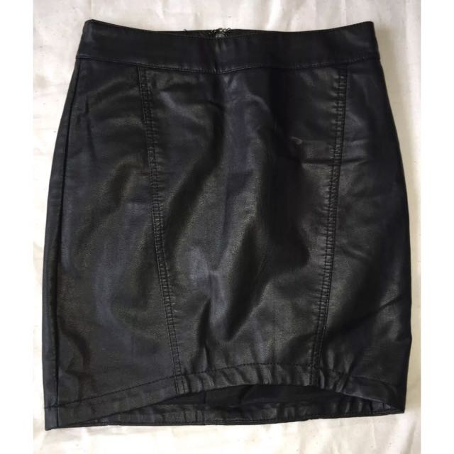 High Waisted Bardot Leather Skirt Size 8