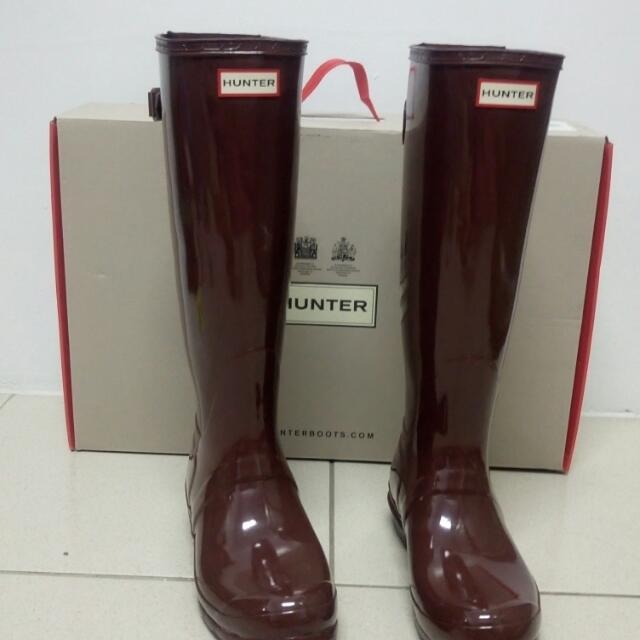 Hunter正品original adjust亮面咖酒紅色雨靴 uk7=us9