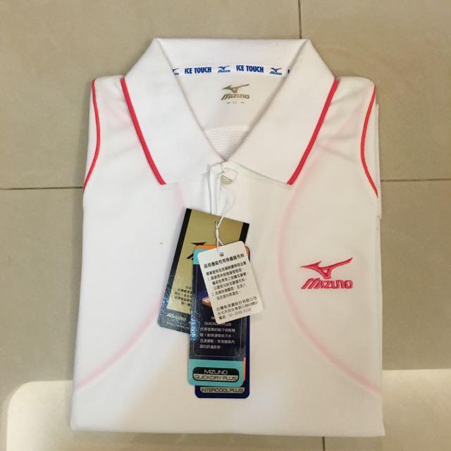 展示品~全新Mizuno美津濃 白色休閒涼感高爾夫Polo衫(LL Size)