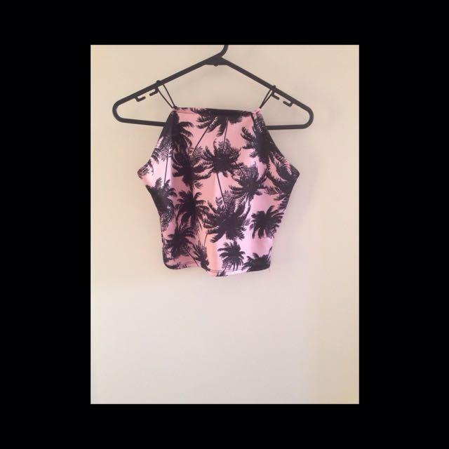 Pink And Black Crop Top