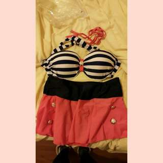 少女海軍風泳衣