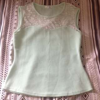 Mint Green White Lace Top