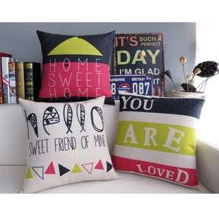 【3款】居家擺飾 美式塗鴉 綿麻 POP抱枕 抱枕套 咖啡廳 酒吧 沙發靠墊套