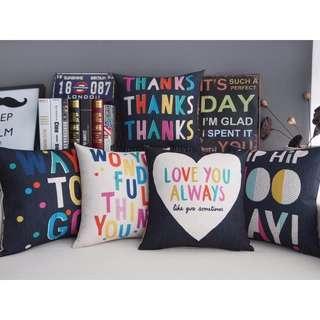 【5款】 愛LOVE Thanks彩色英文字母 綿麻 POP抱枕 抱枕套 咖啡廳 酒吧 沙發靠墊套