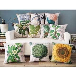 【8款】鄉村 手繪 花卉 向日葵 植物 綿麻 POP抱枕 抱枕套 咖啡廳 酒吧 沙發靠墊套