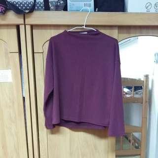 Queen Shop QS 韓製 正韓 寬袖 七分袖 酒紅彈性上衣