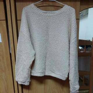 Queen Shop 韓製 正韓 圈圈毛 寬袖 米色毛衣