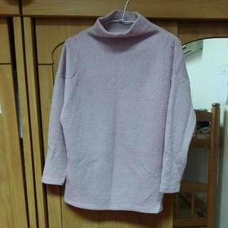 Lovfee 紫粉色 小高領 長版毛衣