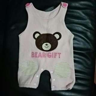 降!!全新100%棉 粉色小熊吊帶褲背心