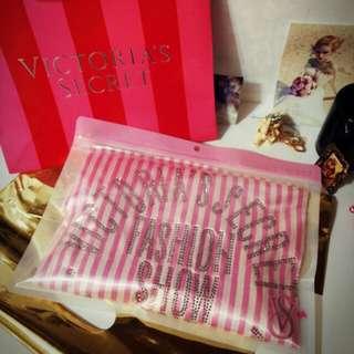 正品 實拍圖 贈紙袋 含淚出清 維多利亞的秘密 2015最新粉紅 水鑽冰絲睡袍S
