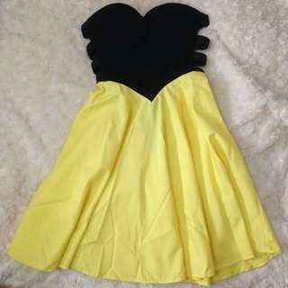 Strapless Yellow Dress