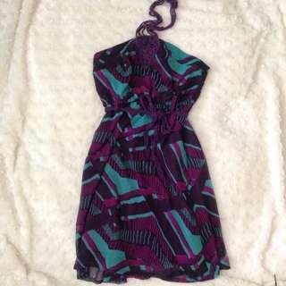 Printed Halter Neck Dress