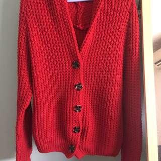 免運💕 紅色 針織 毛線 厚外套