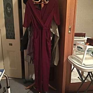 FORCAST Jumpsuit. Maroon Colour Size 6