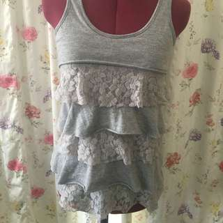Grey Layered Frill Shirt