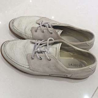 Lacoste 白色麂皮混真皮休閒鞋US10.5