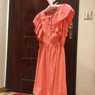 顯瘦西瓜橘洋裝