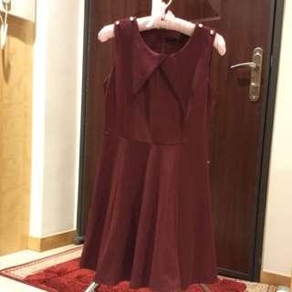氣質酒紅洋裝