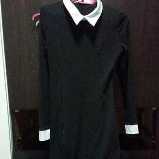 Black Collared Peterpan Dress