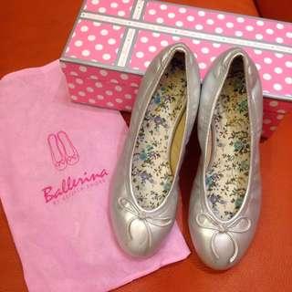 [Ballerina 台灣品牌] 小碎花蝴蝶結娃娃鞋 (鑽石銀)