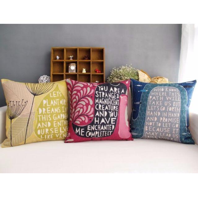 【3款】抽象派田園風手繪 綿麻 POP抱枕 抱枕套 咖啡廳 酒吧 沙發靠墊套