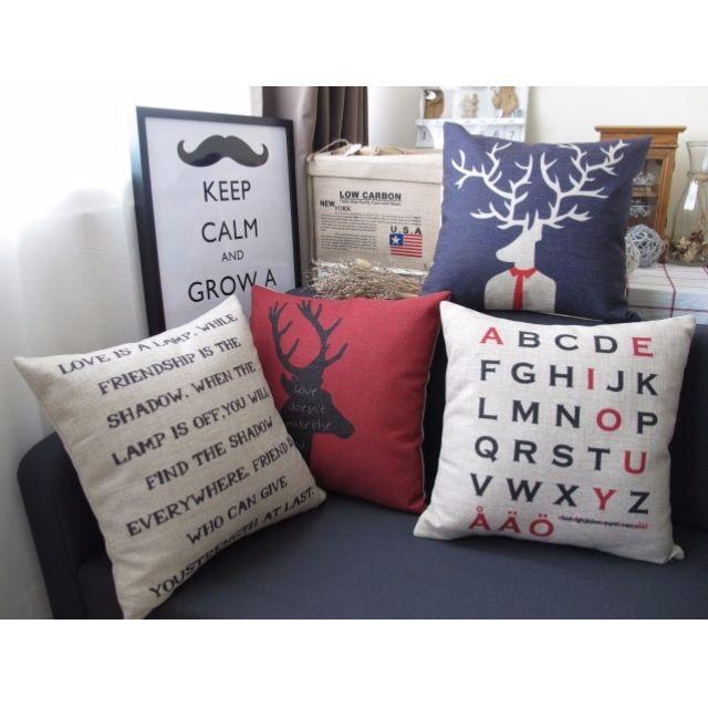 【4款】居家擺飾 美式風格 簡約 綿麻 POP抱枕 抱枕套 咖啡廳 酒吧 沙發靠墊套