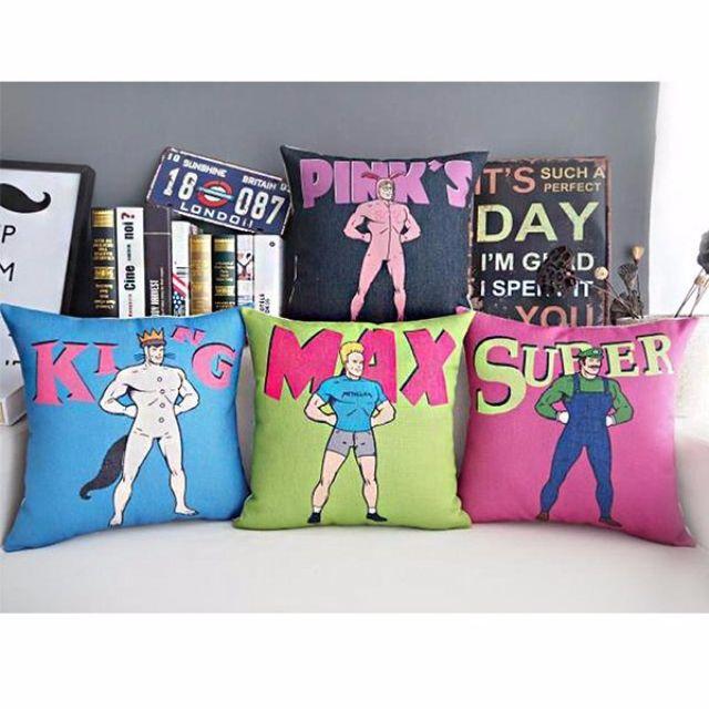 【4款】居家擺飾 美式 趣味 綿麻 POP抱枕 抱枕套 咖啡廳 酒吧 沙發靠墊套