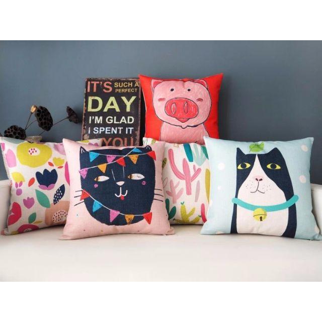 【6款】 小清新 貓 粉紅豬 仙人掌 綿麻 繽紛抱枕 抱枕套 咖啡廳 酒吧 沙發靠墊套