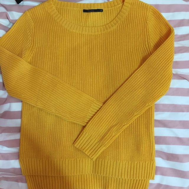 黃色針織上衣