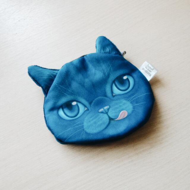 俏皮吐舌藍貓柔軟小零錢包