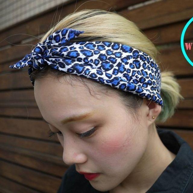 寶藍豹紋頭巾 VINTAGE 古著