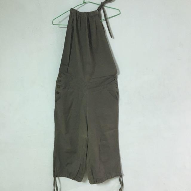 墨綠色綁帶寬褲