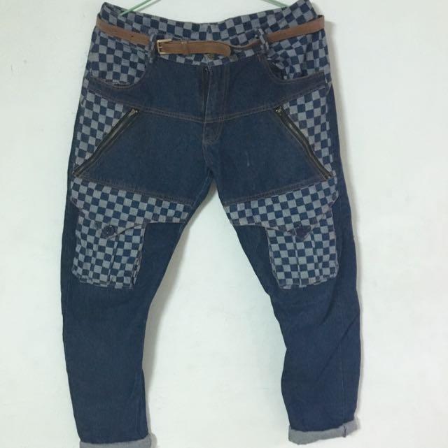 格紋牛仔褲