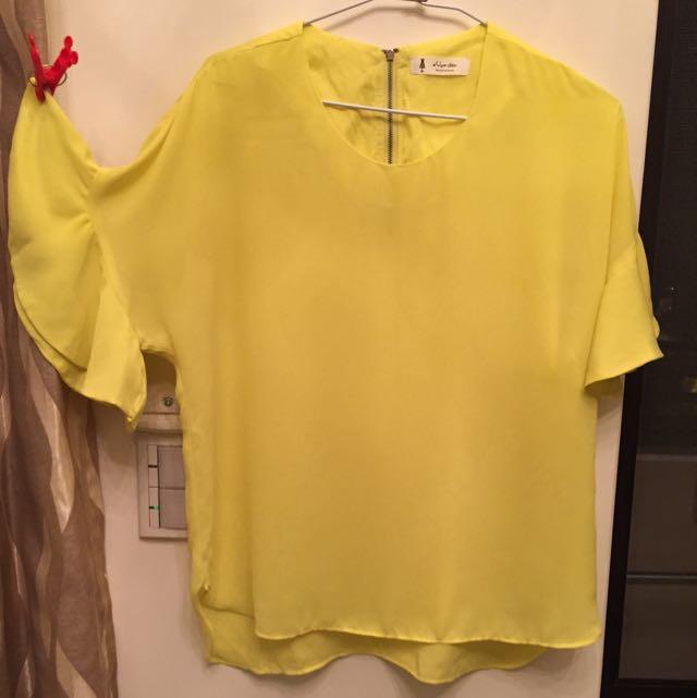 雪紡紗-小花喇叭袖上衣(鵝黃色)