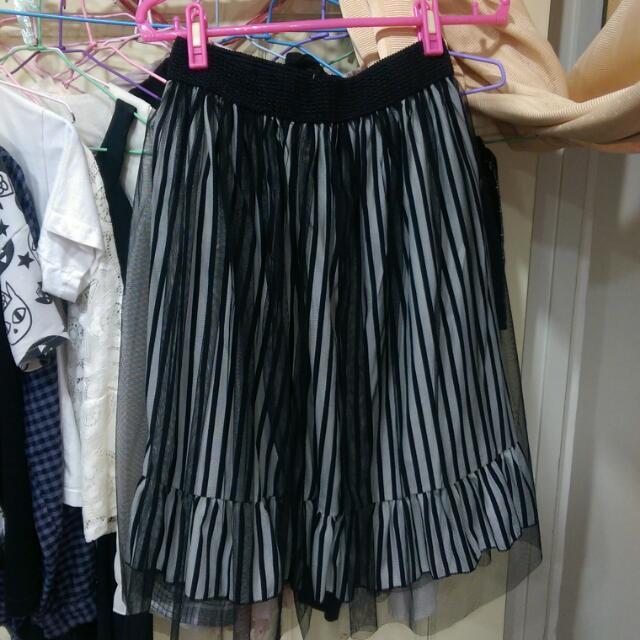 黑色薄紗條紋長裙
