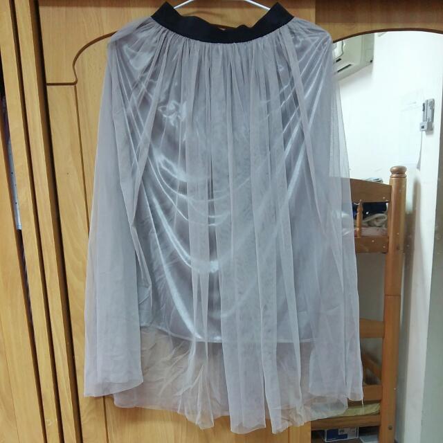 可可色 藕灰色 紗裙