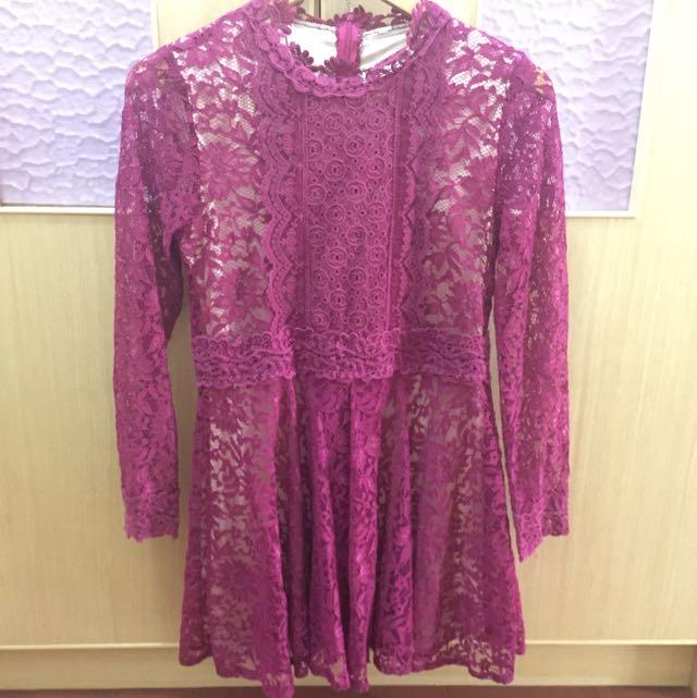 韓國 正韓 紫紅色蕾絲洋 小穎