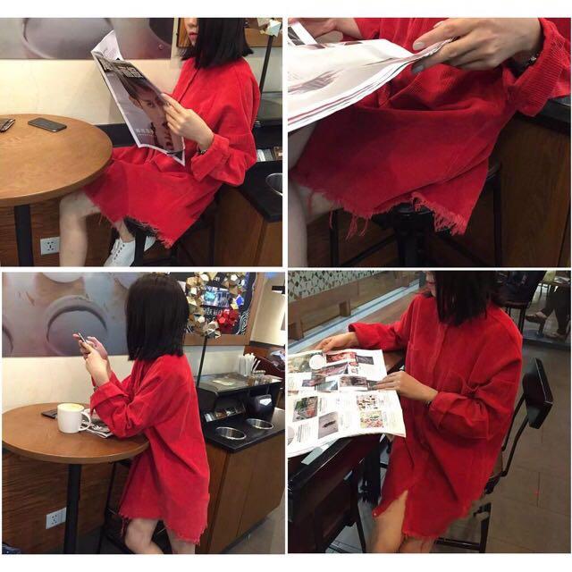 純色流蘇燈芯絨襯衫外套 韓版 寬鬆 中長款 打底衫襯衣(紅)