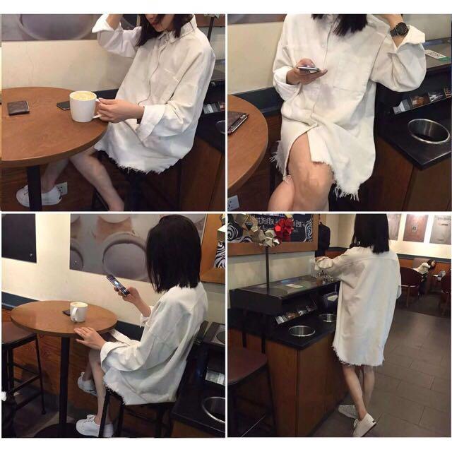 純色流蘇燈芯絨襯衫外套 韓版 寬鬆 中長款 打底衫襯衣(白)